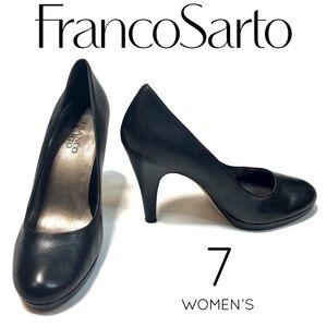 Franco Sarto black cone closed toe high heels 7